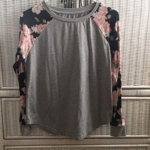 Tops - junior's long floral sleeve with gray torso shirt.